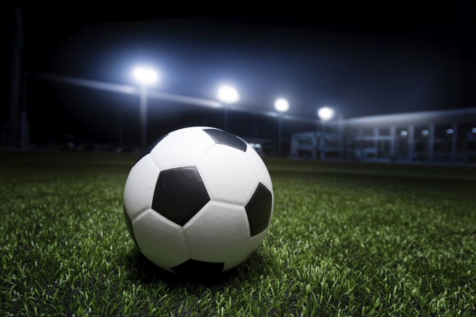 Soccer field under the night time lights